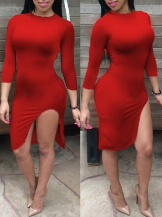 dress red sexy elegant party long sleeves slit dress hot bodycon trendy fall outfits stylish feminine summer