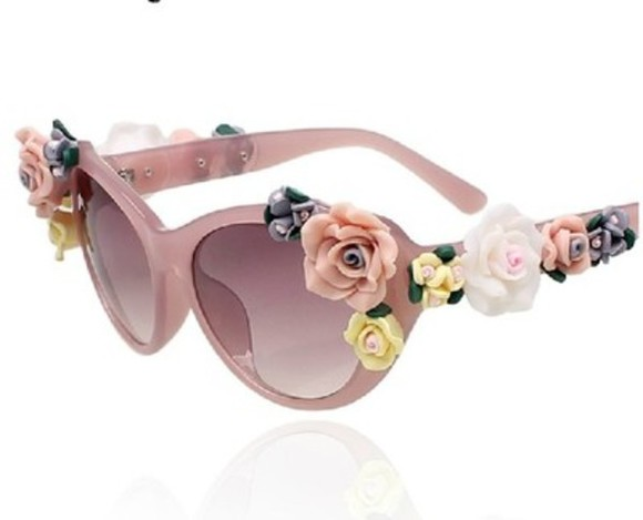 flower sunglasses pink lenses woman accessories embellished