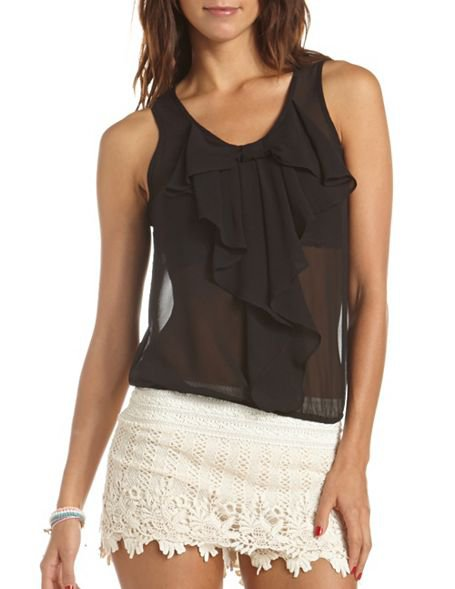 Ruffled Bow-Front Chiffon Top: Charlotte Russe on Wanelo