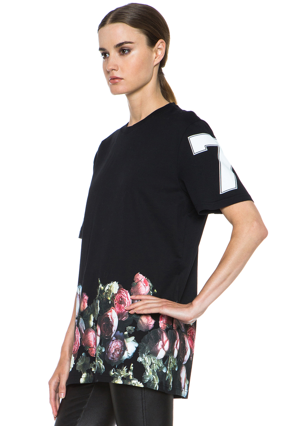 GIVENCHY|Flower Border Tee in Black
