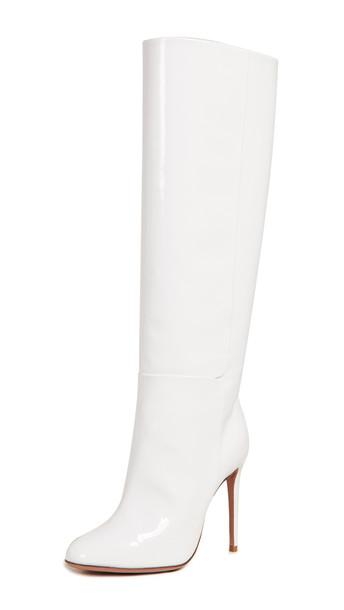 Aquazzura Brera 105 Boots in white