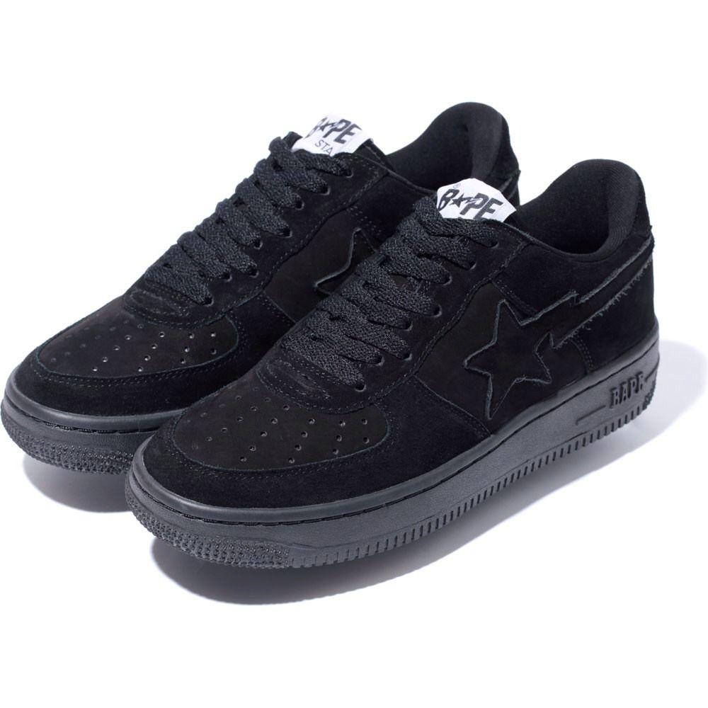 Bapesta Bape Shoes Sneaker Black Suede Nubuck 1st Camo