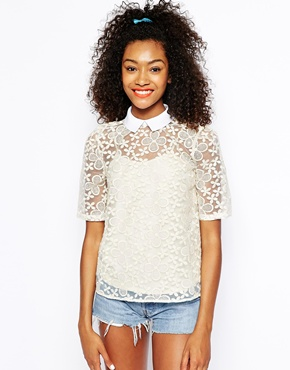 River Island | River Island Embroidered Collar Shell Top at ASOS