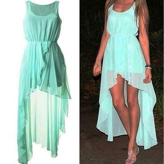 teal dress high low dress chiffon