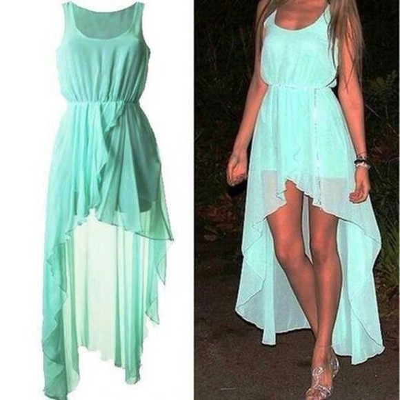 chiffon teal dress high low dresses
