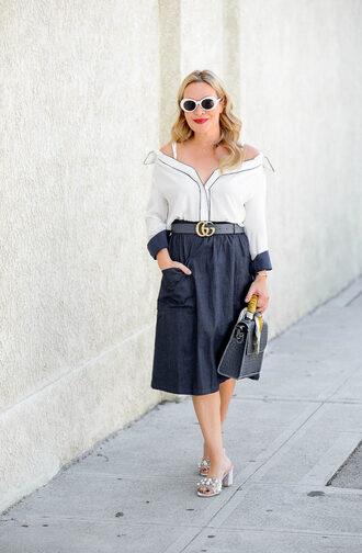 skirt midi skirt denim skirt shirt satchel embellished mules blogger blogger style off the shoulder handbag gucci belt