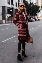 fashionjackson,blogger,coat,sweater,jeans,shoes,sunglasses,ankle boots,red coat,fall outfits,plaid coat,plaid red coat,car coat,black denim,black booties,white sweater