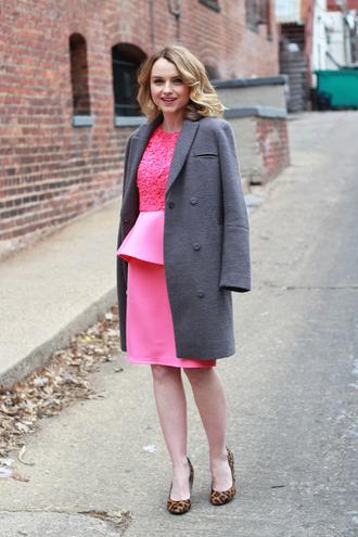 poor little it girl blogger pink dress grey coat leopard print high heels