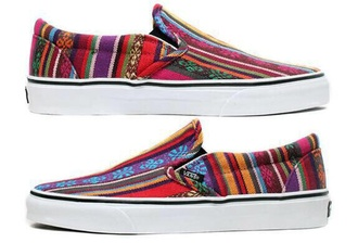 shoes printed vans aztec vans hippy printed colorful slip on shoes cool girly adorable colors color stripes pattern patterned aztec print aztec shoes hipster hippie boho