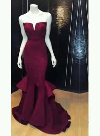 dress grad graduation debs formal long prom plum red purple burgundy floor length strapless beandeau mermaid layers layer layered structured
