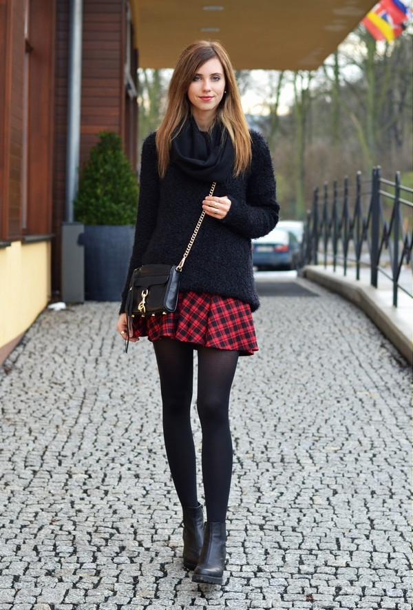 vogue haus sweater skirt shoes bag jewels scarf