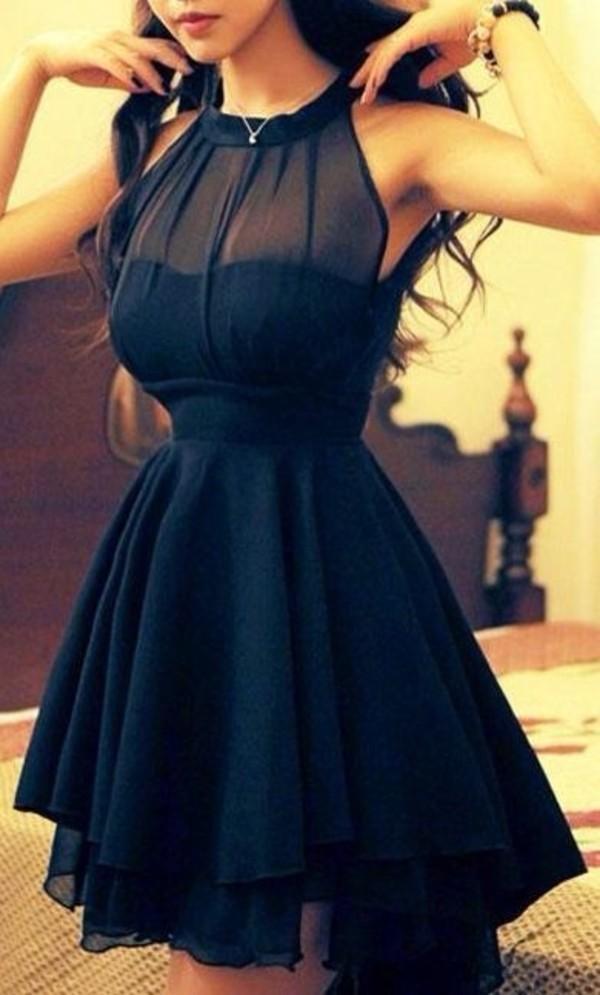 black dress mesh dress see through halter dress midi dress party dress dress