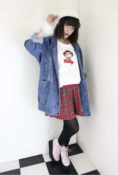 t-shirt kawaii kawaii grunge jacket japan japanese fashion streetstyle pale pale grunge skirt denim platform shoes white shirt pastel pink shoes dress