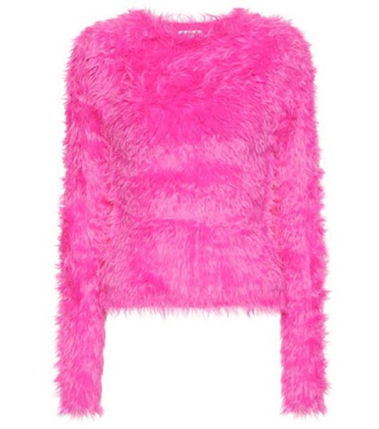 Balenciaga Faux fur sweater in pink