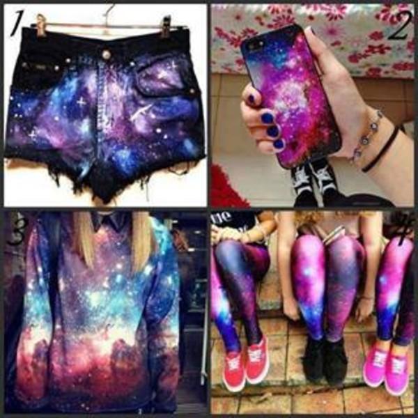 sweater galaxy print phone cover shorts leggings