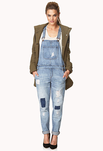 jeans overalls denim pockets skinny jeans patched coat patch