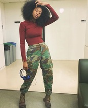 pants,camouflage,army boots,green,green pants,red top,blue,blue headphones,music,army green,army pants,red,long sleeves,african american,afropunk,headphones