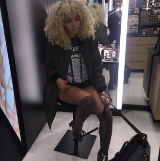 jacket longline bomber dark green shirt curly hair african american black girls killin it black high heels bag dope