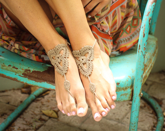 jewels handmade footless sandals beach summer shoes crochet sandles barefoot boho bohemian boho chic nails