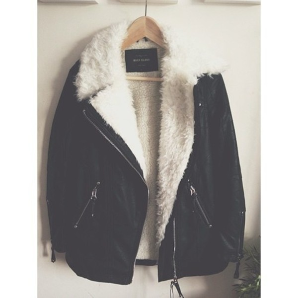 Black shearling lined longline biker jacket - leather / leather ...