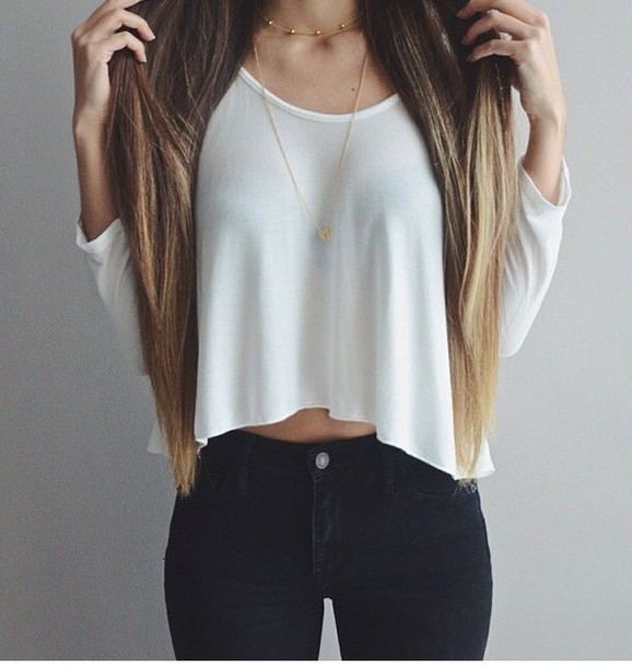 Blouse shirt white blouse crop tops outfit tumblr cute casual tumblr outfit fashion ...