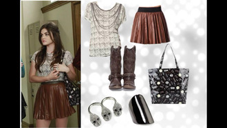 skirt t-shirt bag boots lucy hale aria montgomery pretty little liars leather leather skirt jewels