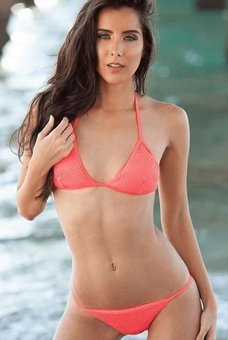 top bikini exclusive mesh pink triangle top bikiniluxe
