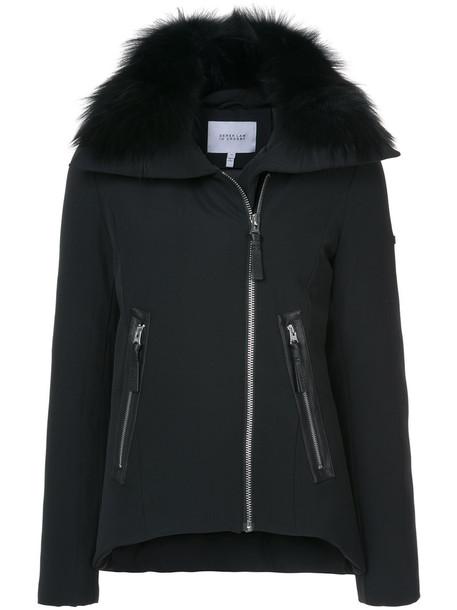 DEREK LAM 10 CROSBY jacket hooded jacket fur fox women leather black