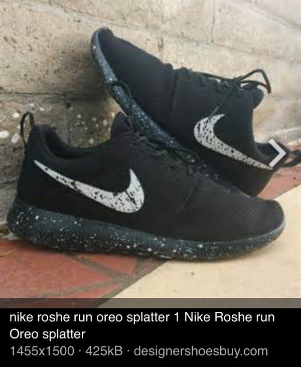shoes nike black oreo speckled black and white white black speckled soles speckled check nike roshe run sneakers running shoes fashion athletic nike roshe run splattered roshes roshe runs