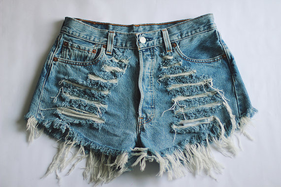 MADE TO ORDER Ripped High waisted Denim Shorts by SORUTHLESS