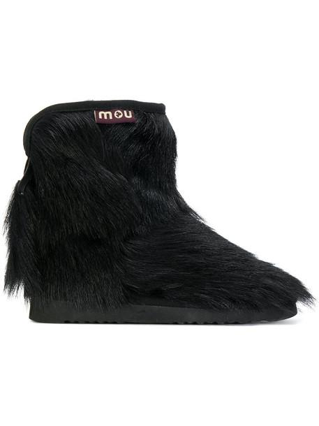 fur women ankle boots black shoes
