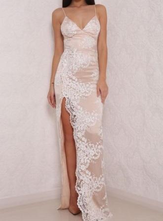 dress white beige silk