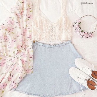 dress skirt crop tops floral cute kimono flower crown shoes