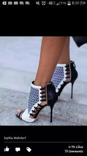 shoes,heels,boots,boots with spikes and cheetah print,high heels,steve madden,wade wedges,black,white,black and white heels,sandal heels,sandals,fashion,style,strappy,black and white,leather,sexy,pattern,print,stilettos,heel,point toe,women,girl,ladies