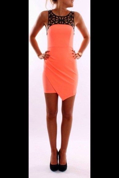 dress mini dress coral dress cute dress