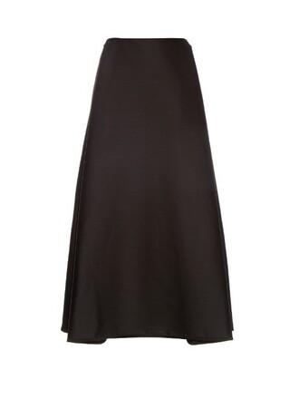 skirt midi skirt high midi wool black