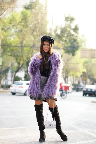 coat tumblr lilac lilac coat skirt mini skirt grey skirt boots black boots over the knee boots over the knee hat fisherman cap