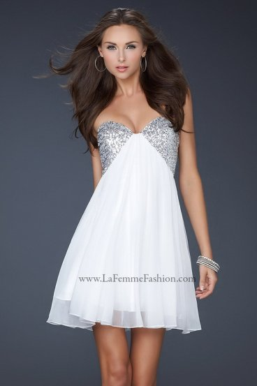 White Short Sequined Bust Open Double Strap Back Prom Dress [La Femme 17649 White] - $169.00 : Prom Dresses 2014 Sale, 70% off Dresses for Prom
