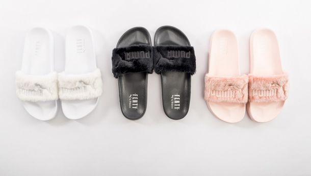 shoes puma puma slides fur fur slippers fur slides rihanna pumas pink white black  slide shoes 69af2a8b9