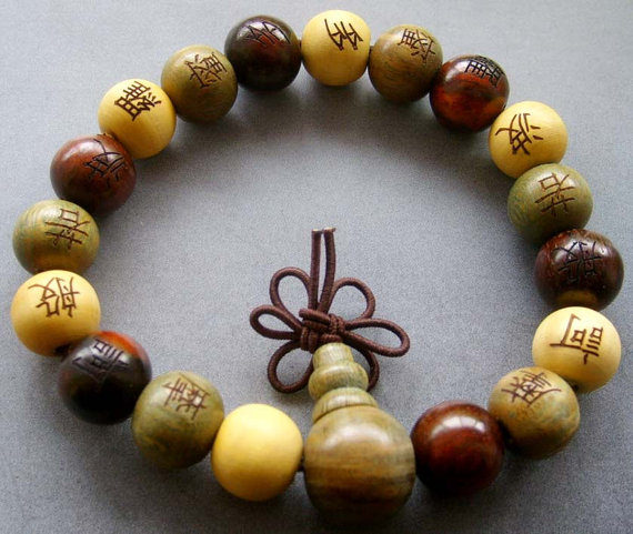 12mm wood beads tibetan buddhist prayer bracelet by 8giftshop