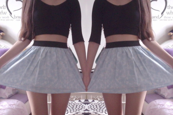 skirt clothes t-shirt crop tee shirt blue hipster skater skirt hippie black dress gray skirt