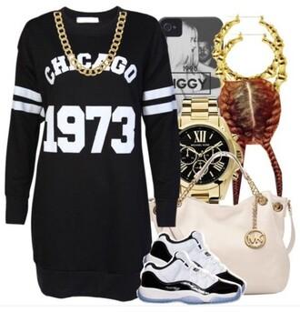 dress t-shirt dress sweater pullover baddies black girls killin it bad bitches link up black dress black and white