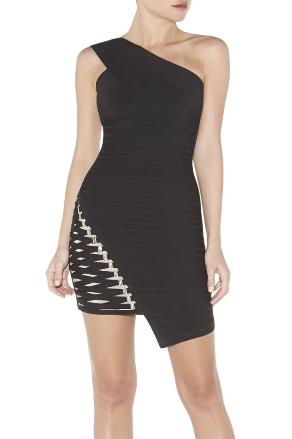 Maya one black shoulder bandage dress