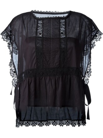 blouse embroidered lace black top