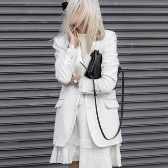 jacket tumblr white blazer blazer mini dress white dress ruffle ruffle dress bag black bag watch minimalist minimalist bag