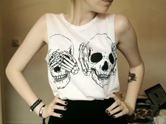 skeleton skeleton shirt halloween shirt skeleton print peace sign t-shirt white tee circle skirt wet seal halloween