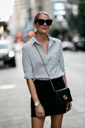 shirt tumblr stripes striped shirt skirt mini skirt denim denim skirt black skirt bag black bag sunglasses