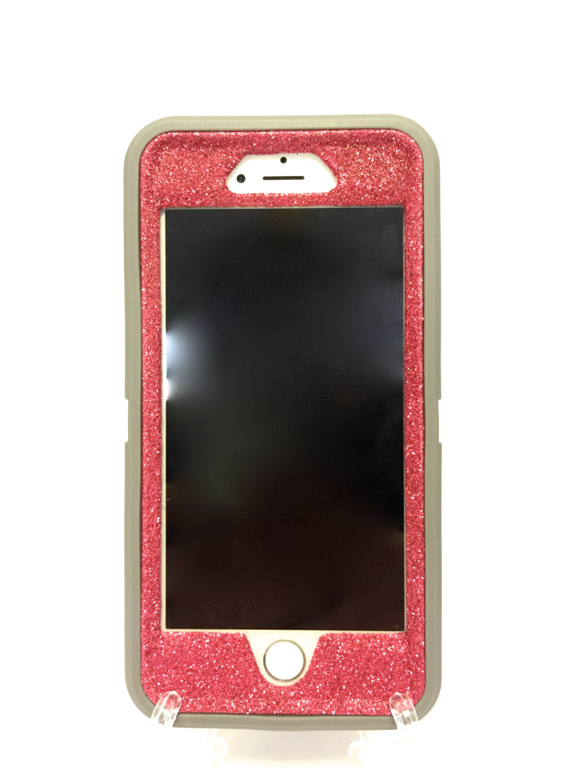 Pink Otterbox Iphone 6 Plus Defender Series Neon Rose Glitter Sparkly Bling Case Gray