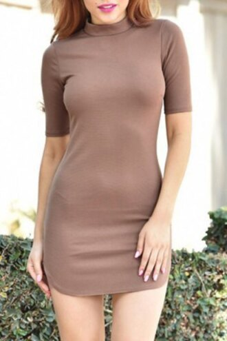 dress summer sexy fashion chic stand collar short sleeve solid color bodycon mini dress for women turtleneck party casual rosegal dec rosegal-dec