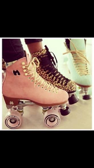 shoes pink shoes lepoard print leopard shoes mint green shoes roller skates pink leopard print